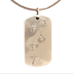 Handstamped dandelion dog tag leather necklace